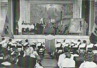 """Autoridades Saltenses e representantes do governo italiano, na inauguração da """"Casa D'Itália"""" em fevereiro de 1937"""